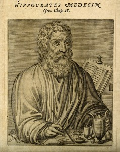 V0002784 Hippocrates. Line engraving, 1584. Credit: Wellcome Library, London. Wellcome Images images@wellcome.ac.uk http://wellcomeimages.org Hippocrates. Line engraving, 1584. Published: - Copyrighted work available under Creative Commons Attribution only licence CC BY 4.0 http://creativecommons.org/licenses/by/4.0/